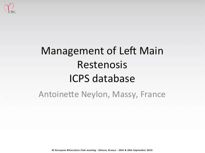Management of Left Main Restenosis ICPS database