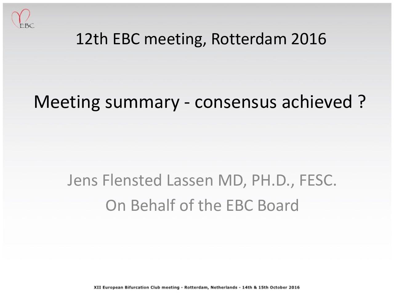 Meeting summary – consensus achieved ?