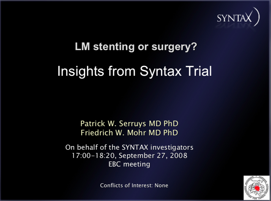 LM stenting or surgery? Insights from Syntax Trial