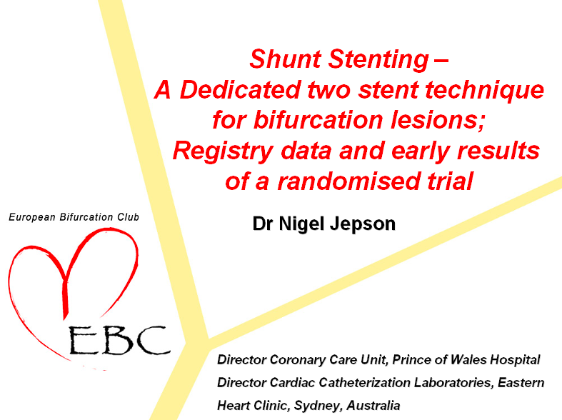 Shunt Stenting A dedicated two stent technique for bifurcation lesions registry data and early results of a randomised trial