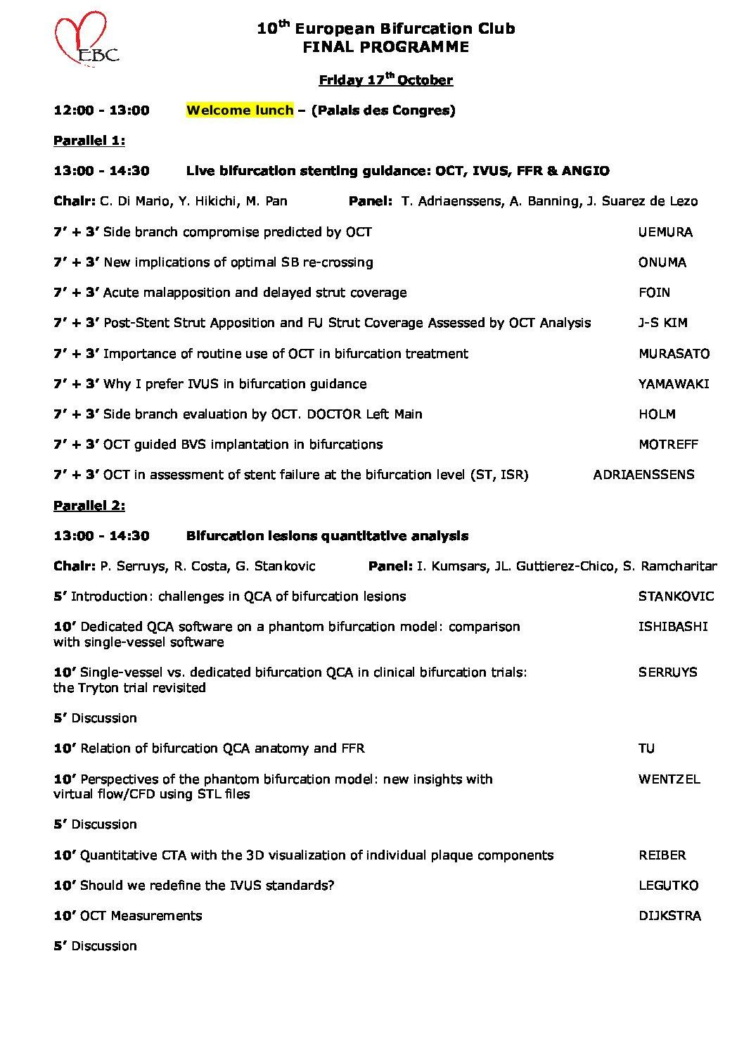 EBC 2014 – Programme