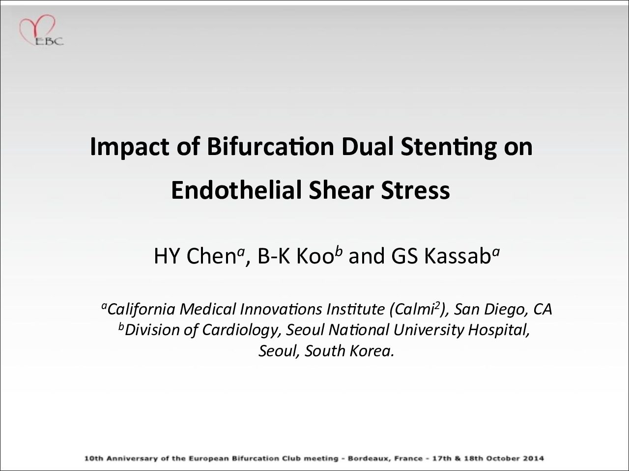 Impact of bifurcation stenting on Endothelial Shear Stress