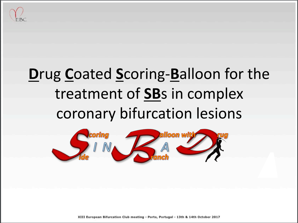 Drug Coated Scoring-Balloon for the treatment of SBs in complex coronary bifurcation lesions